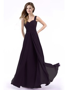 Perfect Straps Chiffon Purple Prom Dress with Hand Made Flowers