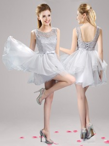 See Through Scoop Grey Short Prom Dress with Lace and Bowknot