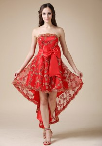 Luxurious Red Cocktail Dress Strapless High-low Elastic Wove Satin And Lace Bow