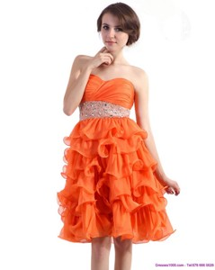Knee Length Prom Dress With Rhinestones And Ruffled Layers