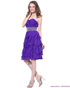Popular Sweetheart Ruffled Prom Dress With Appliques