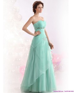 Appple Green Sweetheart Prom Dress With Ruching And Beading