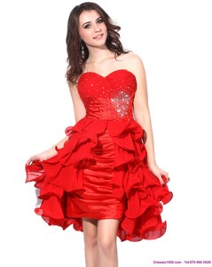 Red Ruching Sweetheart Prom Dress With Beading And Ruffles