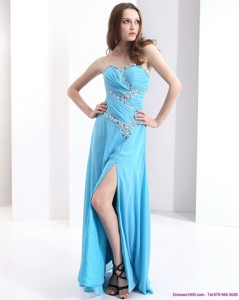 Affordable Sweetheart Ruching Prom Dress With Beading And High Slit