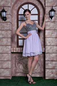 Lilac Spaghetti Straps Knee-length Beading Chiffon Homecoming Dress