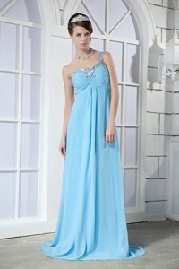 Light Blue Empire One Shoulder Brush Train Chiffon Beading Prom Dress