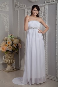 Pretty White Prom Dress Column Strapless Chiffon Beading Brush Train