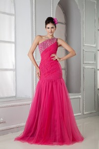 Latest Coral Red Mermaid Prom Dress One Shoulder Beading Floor-length Tulle