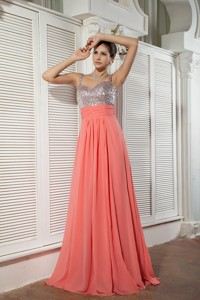 Customize Watermelon Red Prom / Evening Dress Empire Straps Chiffon Beading Brush Train