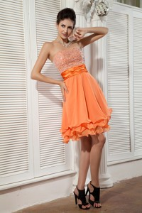 Orange Empire Sweetheart Mini-length Chiffon Beading Prom / Homecoming Dress