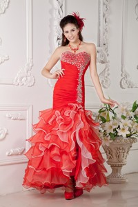 Red Mermaid Sweetheart Ankle-length Organza Beading Prom / Evening Dress