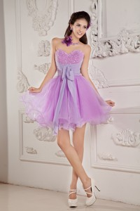Cute Lavender Princess Sweetheart Prom Homecoming Dress Mini-length Organza Beading