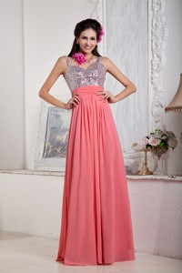 Watermelon Empire Spaghetti Straps Floor-length Chiffon and Sequin Beading Prom Dress