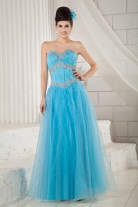 Popular Aqua Blue Prom Dress Sweetheart Tulle Beading Floor-length