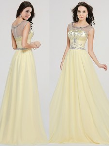 See Through Scoop Beaded Chiffon Prom Dress in Light Yellow