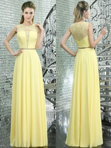 Simple Scoop Yellow Chiffon Prom Dress with Lace and Beading