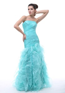 Ruched And Ruffles Decorate Bodice Mermaid Floor-length Light Blue Organza Prom Evening Dress