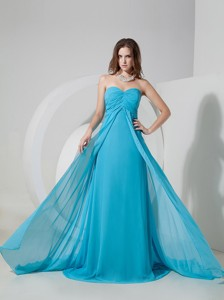 Brand New Aqua Blue Empire Sweetheart Prom Dress Brush Train Chiffon Ruch