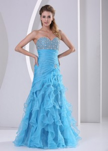 Ruffles Baby Blue Sweetheart Beading And Ruch Prom Dress Party Style