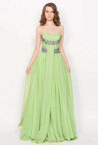 Hot Sale Strapless Brush Train Prom Dress In Apple Green