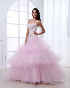 Wonderful Sweetheart Baby Pink Prom Dress With Sequins And Ruffled Layers