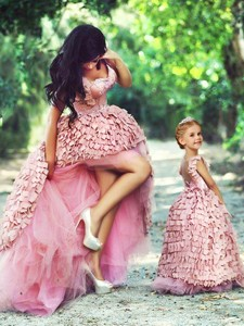Exquisite High Low Prom Dress with Special Material and Perfect Applique Little Girl Dress with Stra