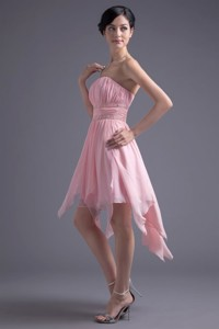 Strapless High-low Pink Beading Chiffon Prom Dress