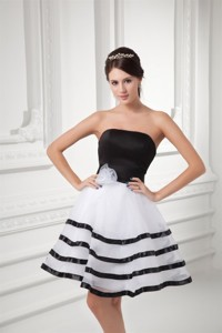 White And Black Strapless Mini-length Organza Prom Dress With Ruffled Layers
