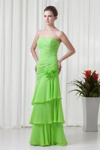Champagne Strapless Knee-length Taffeta Ruching Prom Dress