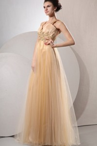 Gold Straps Appliques And Ruching Floor-length Organza Prom Dress