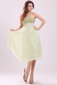 Empire Light Green Strapless Beading Pleats Chiffon Prom Dress
