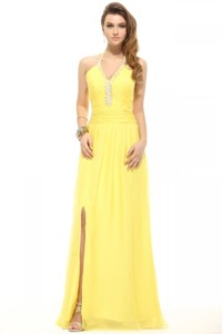 Empire Light Yellow Halter Top High Slit Beading Chiffon Prom Dress