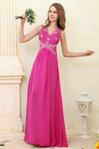Empire Hot Pink V-neck Beading Chiffon Prom Dress