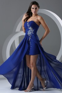 Column Sweetheart Royal Blue Beading And Ruching Chiffon Prom Dress