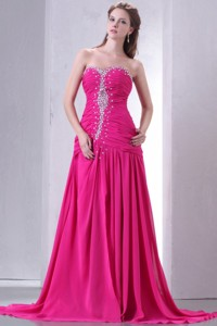 Sweetheart Beading And Ruche Chiffon Prom Dress In Hot Pink