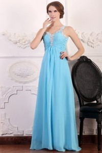 Aqua Blue One Shoulder Empire Chiffon Beaded Decorate Prom Dress