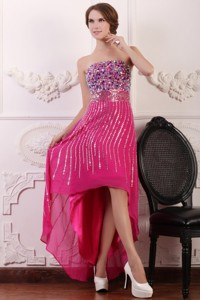 Rhinestone and Beading Strapless High-low Chiffon Hot Pink Prom Dress