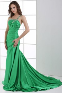 Green One Shoulder Beading And Ruche Sweep Train Prom Dress