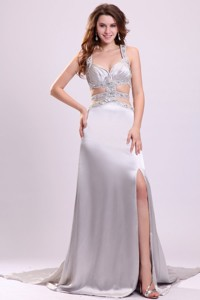 Column Straps Beading Ruching Satin High Slit Gray Prom Dress