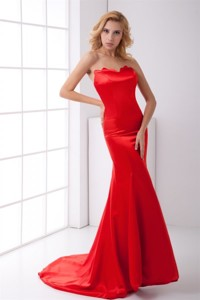Column Sweetheart Red Brush Train Ruching Prom Dress