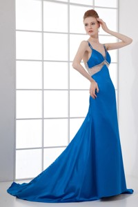 Spaghetti Straps Empire Blue Chiffon Beading Brush Train Prom Dress