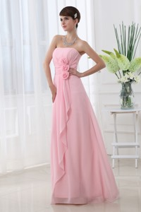 Strapless Hand Made Flowers Chiffon Baby Pink Prom Dress