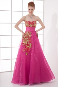 Chiffon Floor-length Hot Pink Appliques Belt Prom Dress