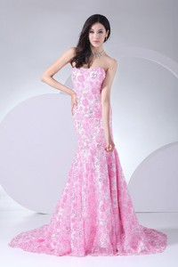 Printing Mermaid Strapless Brush Train Prom Dress For Formal Evening