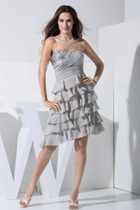 Grey Prom / Cocktail Dress With Sequins and Ruffled Layers Sweetheart Knee-length