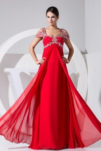Beading Decorate Bodice Red Chiffon Straps Prom Dress Floor-length