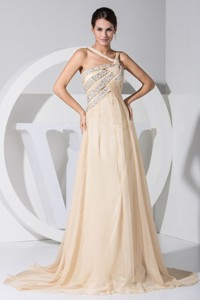 Asymmetrical Beading Decorate Bodice Champagne Chiffon Brush Train Prom Dress