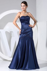 Appliques With Beading Decorate Bodice Navy Blue Floor-length Strapless Prom Dress