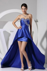 Beading Decorate Bust Sweetheart Neckline High-low Prom Dress