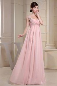 Beaded Decprate One Shoulder and Ruched Bodice For Baby Pink Prom Dress